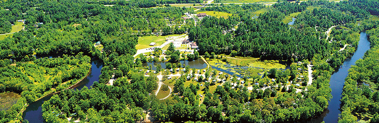 aerial shot of the campground