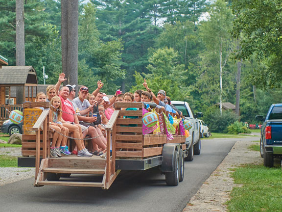 Group of people on a trailer ride