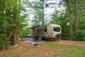 RV parked on wooded lot